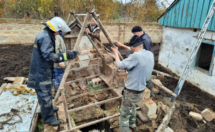 На Днепропетровщине бычок провалился в глубокий погреб